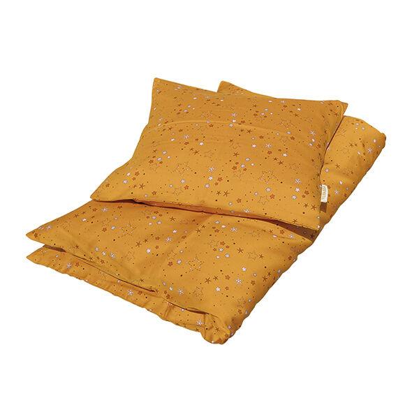 Ágynemű szett (baba) - mustársárga, csillagos