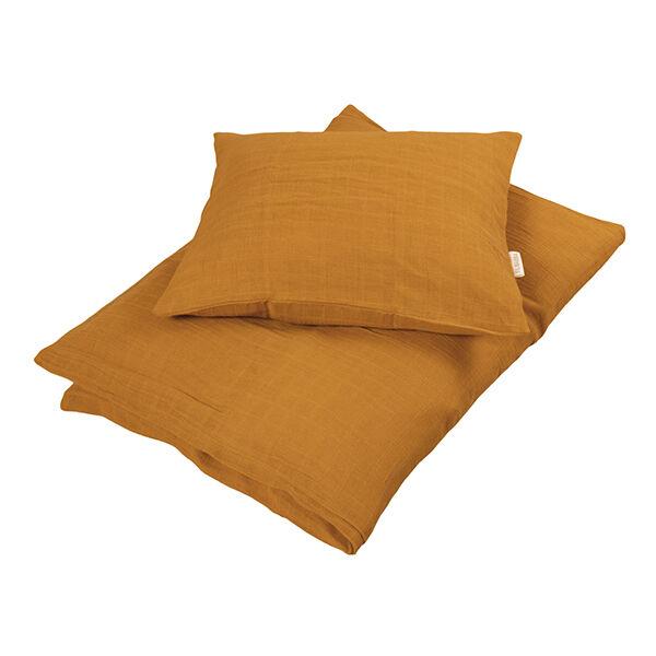 Ágynemű szett (baba) - mustársárga, muszlin